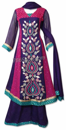 Navy/Hot Pink Chiffon Suit | Pakistani Dresses in USA