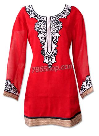 Red Chiffon Kurti  | Pakistani Dresses in USA