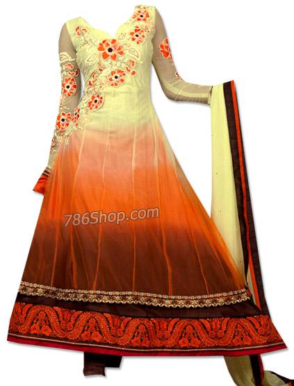Off-white/Orange Chiffon Suit | Pakistani Dresses in USA