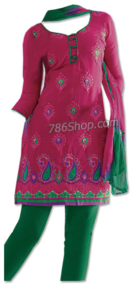 Magenta/Green Georgette Suit | Pakistani Dresses in USA