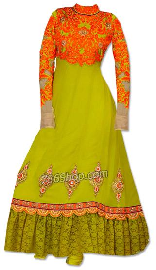 Parrot Green Chiffon Suit   Pakistani Dresses in USA