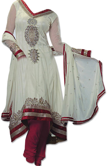 Off-white/Red Chiffon Suit | Pakistani Dresses in USA
