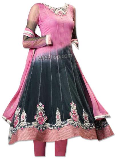 Black/Tea Pink Chiffon Suit | Pakistani Dresses in USA