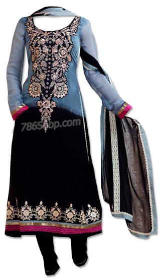 Blue/Black Chiffon Suit | Pakistani Dresses in USA