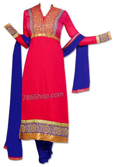 Hot Pink/Blue Georgette Suit   Pakistani Dresses in USA