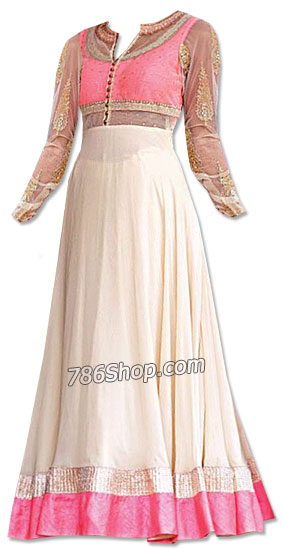 Off-white/Pink Chiffon Suit | Pakistani Dresses in USA