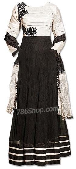 Black/Off-White Chiffon Suit | Pakistani Dresses in USA