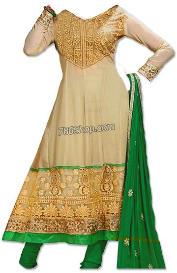 Ivory/Green Chiffon Suit | Pakistani Dresses in USA