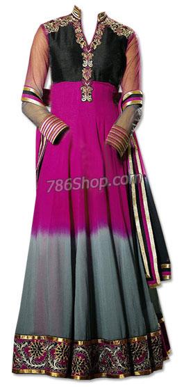 Grey/Hot Pink/Black Chiffon Suit | Pakistani Dresses in USA