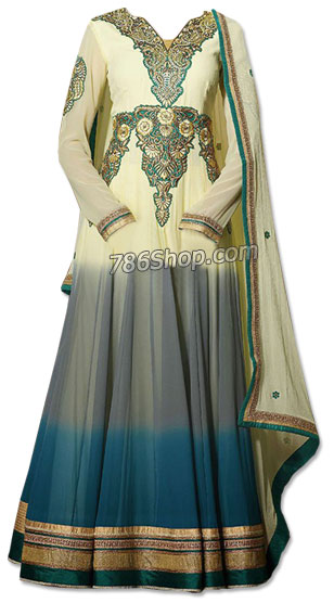Off-white/Turquoise Chiffon Suit | Pakistani Dresses in USA