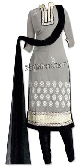 Grey/Black Chiffon Suit   Pakistani Dresses in USA