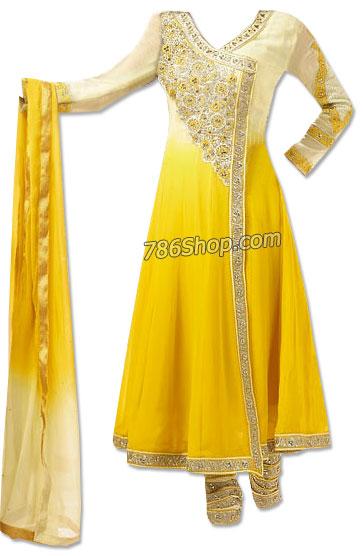 Yellow/Off-white Chiffon Suit | Pakistani Dresses in USA