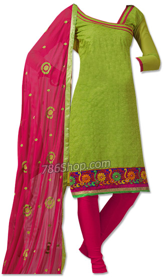 Parrot Green/Magenta Georgette Suit | Pakistani Dresses in USA