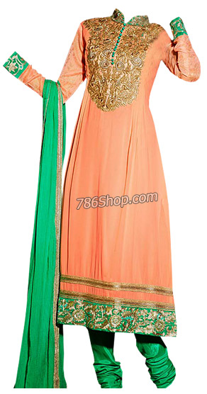 Peach/Green Georgette Suit | Pakistani Dresses in USA