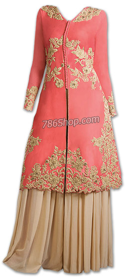 Tea Pink/Beige Chiffon Suit | Pakistani Dresses in USA