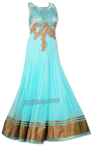 Sky Blue Chiffon Suit   Pakistani Dresses in USA
