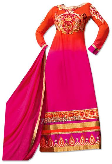 Orange/Hot Pink Chiffon Suit  | Pakistani Dresses in USA