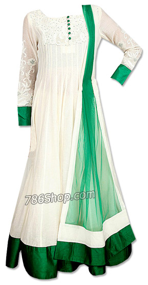 Off-White/Green Chiffon Suit | Pakistani Dresses in USA