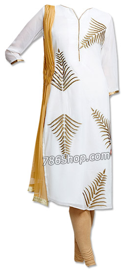 White Georgette Suit | Pakistani Dresses in USA