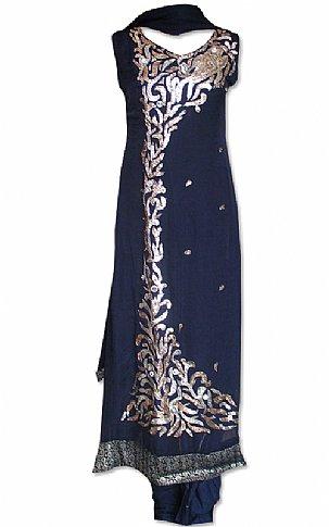 Navy Blue Chiffon Suit   Pakistani Dresses in USA