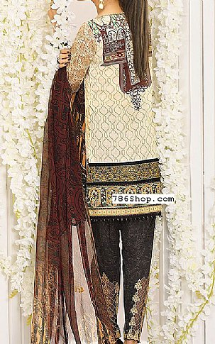 Ivory/Brown Lawn Suit | Pakistani Lawn Suits in USA