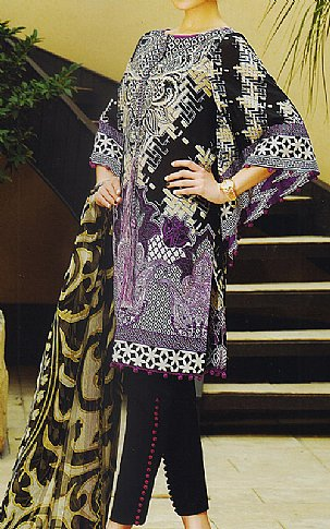 Black/Indigo Lawn Suit. | Pakistani Lawn Suits