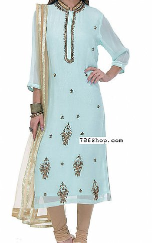 Light Turquoise Georgette Suit | Pakistani Dresses in USA