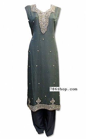 Dark Grey Crinkle Chiffon Suit | Pakistani Dresses in USA