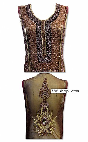 Brown/Golden Crinkle Chiffon Suit | Pakistani Dresses in USA