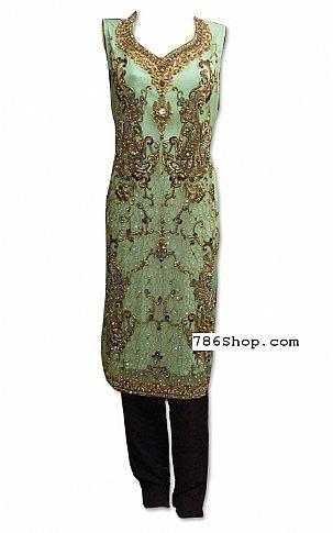 Mint Green Crinkle Chiffon Suit | Pakistani Dresses in USA