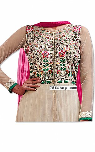 Off-white/Hot Pink Chiffon Suit | Pakistani Dresses in USA