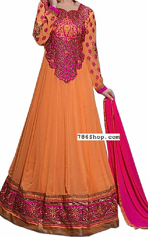 Orange/Pink Chiffon Georgette Suit | Pakistani Dresses in USA