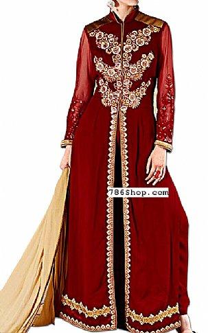Maroon Chiffon Suit   Pakistani Dresses in USA