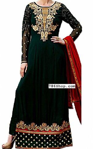 Bottle Green Chiffon Suit | Pakistani Dresses in USA