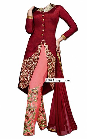 Maroon/Pink Chiffon Suit | Pakistani Dresses in USA