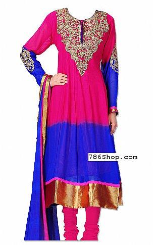 Hot Pink/Blue Chiffon Suit   Pakistani Dresses in USA