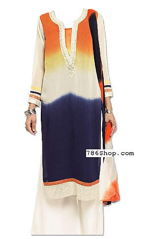 Rust/White/Blue Georgette Suit | Pakistani Dresses in USA