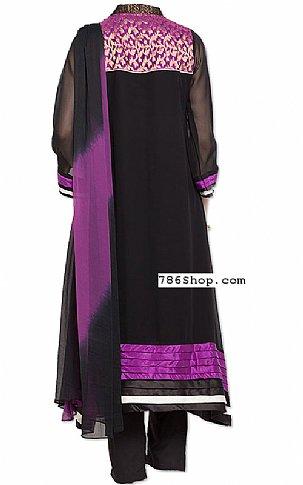 Black/Indigo Chiffon Suit | Pakistani Dresses in USA