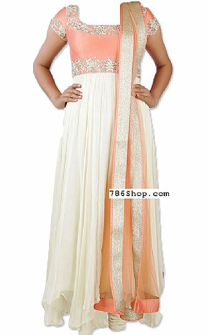 Off-white/Peach Georgette Suit | Pakistani Dresses in USA