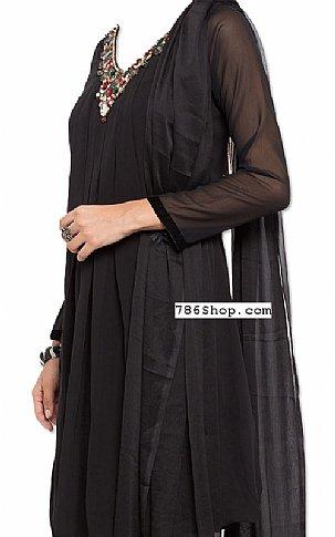 Black Chiffon Suit   Pakistani Dresses in USA