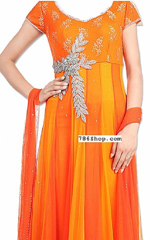 Orange Chiffon Suit | Pakistani Dresses in USA