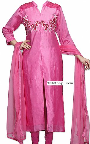 Hot Pink Silk Suit   Pakistani Dresses in USA
