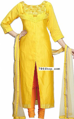Yellow Silk Suit | Pakistani Dresses in USA