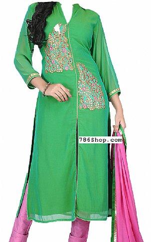 Green Chiffon Suit | Pakistani Dresses in USA
