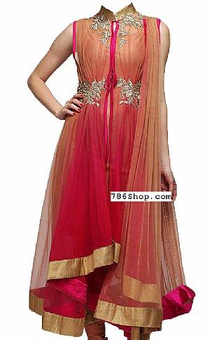 Hot Pink/Beige Chiffon Suit | Pakistani Dresses in USA