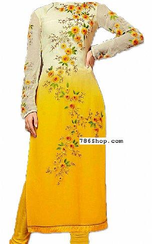Off-white/Yellow Chiffon Suit   Pakistani Dresses in USA