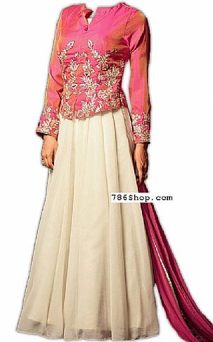 Pink/Off-white Chiffon Suit | Pakistani Dresses in USA