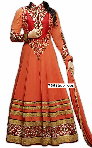 Rust Chiffon Suit | Pakistani Dresses in USA