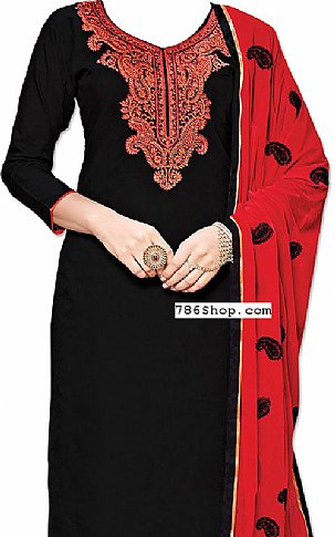 Black/Red Georgette Suit | Pakistani Dresses in USA