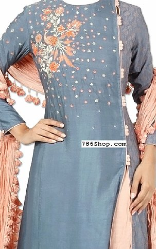 Grey/Peach Silk Suit | Pakistani Dresses in USA
